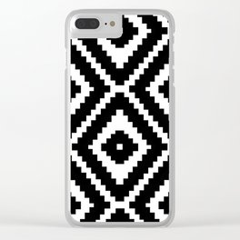 Monochrome Ikat Diamond Pattern Clear iPhone Case
