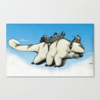 appa Canvas Prints featuring Appa in flight by Doodle of Boredom