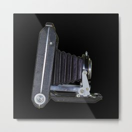 Folding Camera On Black Metal Print