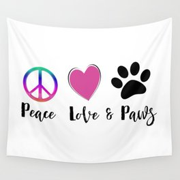 Peace Love & Paws Illustration Wall Tapestry
