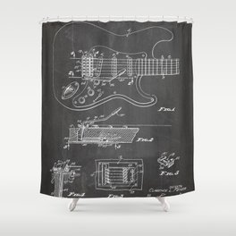 Guitar Tremelo Patent - Guitarist Art - Black Chalkboard Shower Curtain