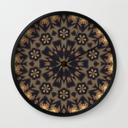 September Wildflowers // Gypsy Hippy Boho Bohemian Abstract Flower Circular Mandala Geometric Earthy Wall Clock