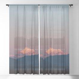 Sunset on Mount Baker Sheer Curtain