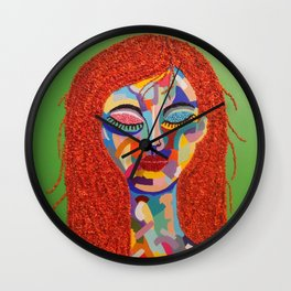 Pop Art woman face colors Fauve Lady 3 rock  Wall Clock