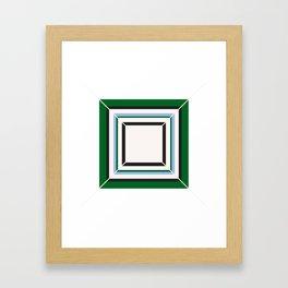 Green Blue And White Tile Framed Art Print