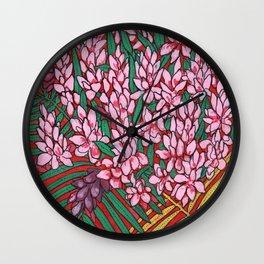 Pink Cone Ginger, Alpinia purpurata, Ostrich Plume Tropical Flowers Wall Clock
