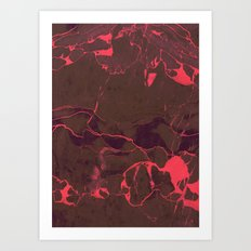 Grey Marble and Coral Art Print
