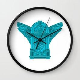 Vintage Flying Illuminati Jukebox Blue Wall Clock