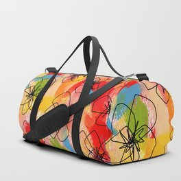 Hibiscus Family #1 - hibiscus illustration flower pattern floral painting nursery room decor Hawaii Duffle Bag