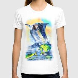 Jumpimg blue Marlin Chasing Bull Dolphins T-shirt