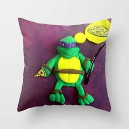 purple mask Turtle Throw Pillow