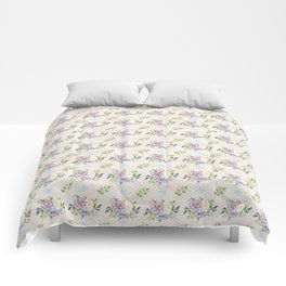 Roses & Forget Me Nots Polka Dots Yellow Comforters