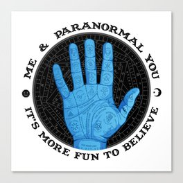 Me & Paranormal You - James Roper Design - Palmistry (black lettering) Canvas Print
