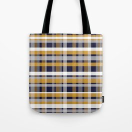 Modern Retro Plaid in Mustard Yellow, White, Navy Blue, and Grey Tote Bag