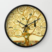 gustav klimt Wall Clocks featuring Gustav Klimt The Tree Of Life  by Art Gallery