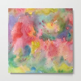 Abstract flower field, watercolor pattern, colorful Metal Print