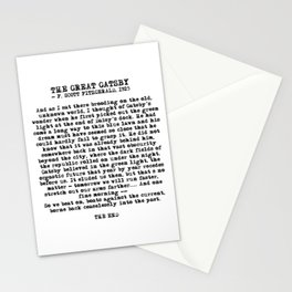 Ending of The Great Gatsby - Fitzgerald quote Stationery Cards