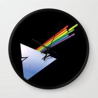 dark side Wall Clocks featuring Dark Side by Diego Consalter