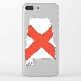 Alabama Map with Alabaman Flag Clear iPhone Case