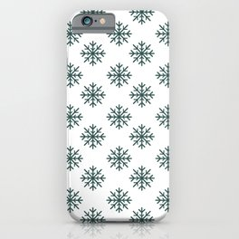 Snowflakes (Dark Green & White Pattern) iPhone Case