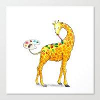giraffe Canvas Prints featuring Giraffe by gunberk