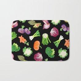 Black veggies pattern | Vegetables illustration pattern Bath Mat