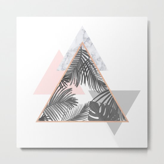 Tropical Marble Blush Pink Gray Copper Metal Print