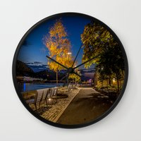 pittsburgh Wall Clocks featuring PITTSBURGH FALL by Stephanie Bosworth