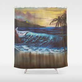 Beach, Tropical Sunset, Waves, by Faye Shower Curtain