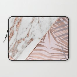 Rose gold marble & tropical ferns Laptop Sleeve