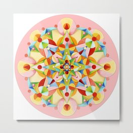 Pastel Carousel Pink Circle Metal Print