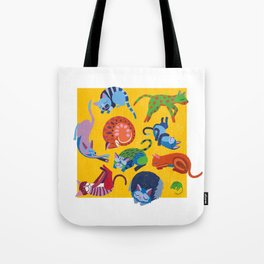 Cats and a Mouse sleeping in the Sun Tote Bag