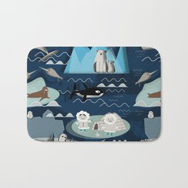 Arctic animals blue Bath Mat