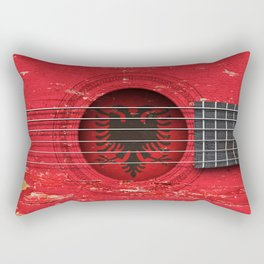 Old Vintage Acoustic Guitar with Albanian Flag Rectangular Pillow