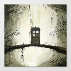 Tardis in the forest Canvas Print