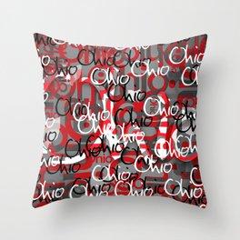 Ohio Scarlett & Gray Day Throw Pillow