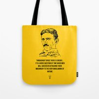 tesla Tote Bags featuring Tesla Quote  by Purshue