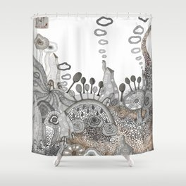 """Brown"" illustration Shower Curtain"