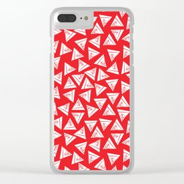 Triangle red and white Clear iPhone Case