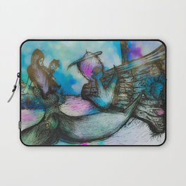 Mermaid and Shipwreck - Watercolor and Ink Laptop Sleeve