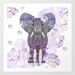 FLOWER SHOWER ELEPHANT Art Print