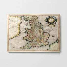 Vintage Map of England (1596) Metal Print