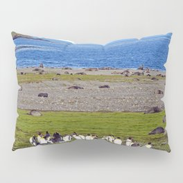 King Penguins on the beach with an Iceberg behind Pillow Sham