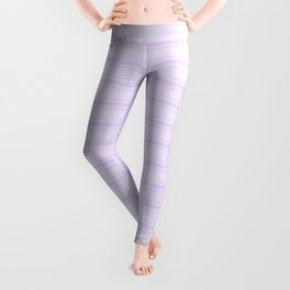 Chalky Pale Lilac Pastel Wide Mattress Ticking Stripes Leggings