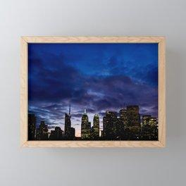 Skyline City Sunset Framed Mini Art Print