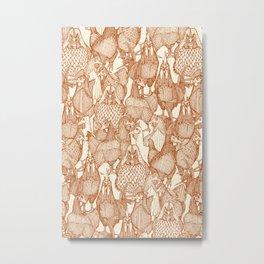 just chickens rust pearl Metal Print