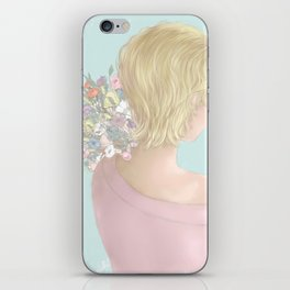 Girl with a bouquet of flowers iPhone Skin