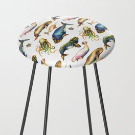 Whales and a Little Squid Counter Stool