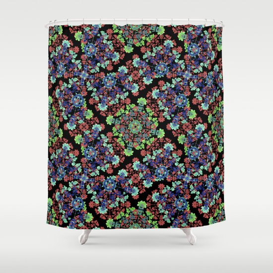 Colorful Stylized Floral Collage Shower Curtain