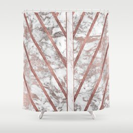 Modern faux rose gold white geometrical marble stripes Shower Curtain